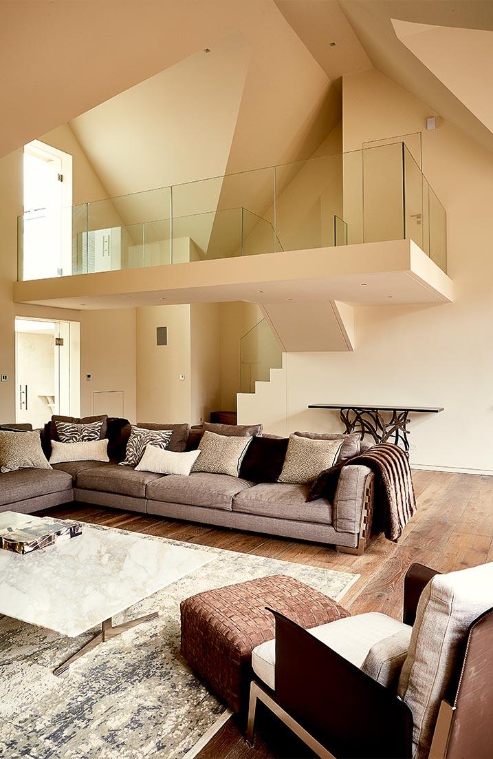 Living room with Glass walkway