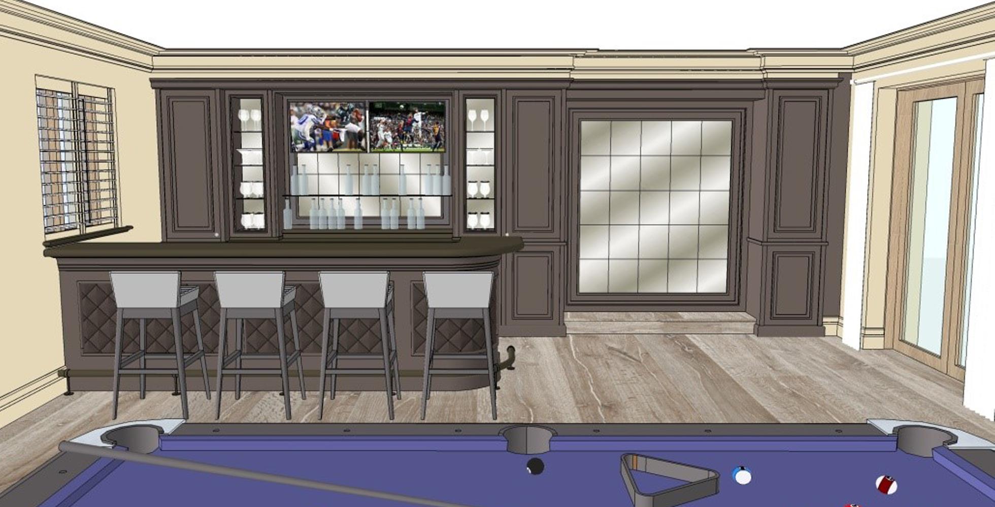 Sketch up image of bespoke bar